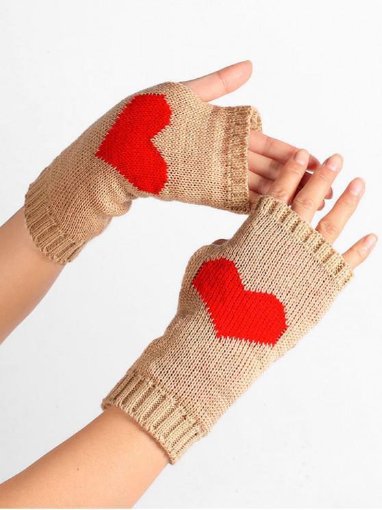 قلب نمط محبوك قفازات أصابع - الجمل الجمل
