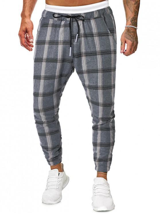Lazo de la tela escocesa de impresión Pantalones Casual basculador - Multicolor L