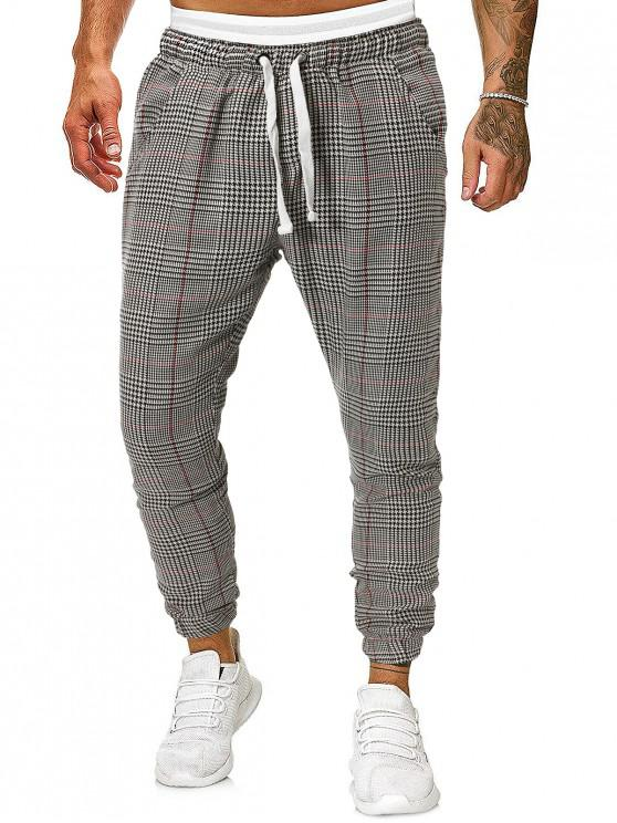 affordable Houndstooth Print Double Pockets Drawstring Jogger Pants - MULTI S
