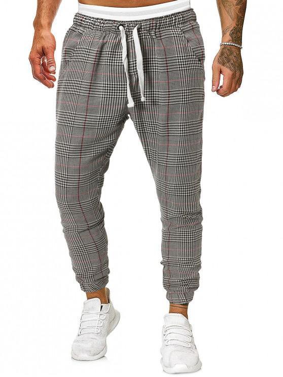 womens Houndstooth Print Double Pockets Drawstring Jogger Pants - MULTI XL
