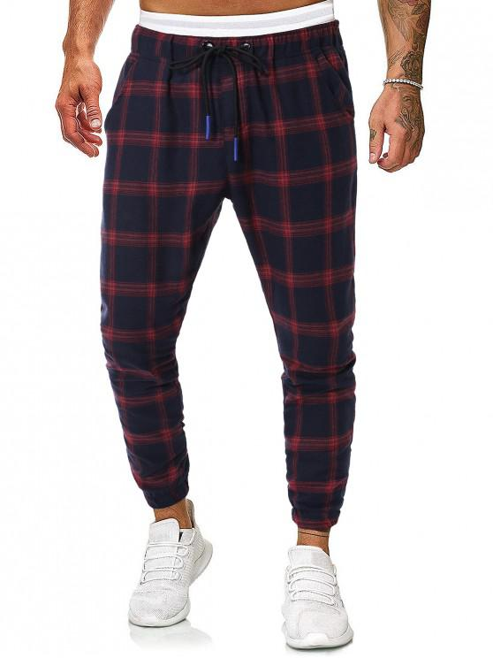 online Drawstring Plaid Print Tapered Jogger Pants - MULTI L
