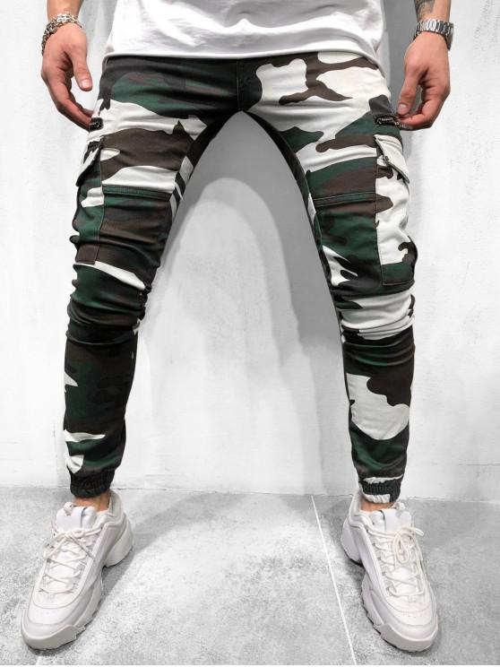 hot Camouflage Print Multi Pockets Drawstring Cargo Jogger Pants - MULTI XL