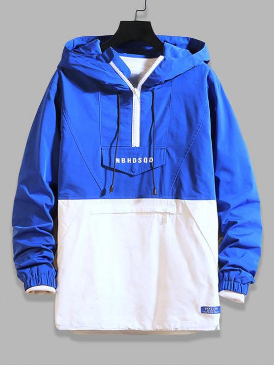 trendy Letter Zipper Decoration Colorblock Hoodie - BLUE XL