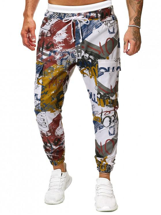 new Graffiti Print Drawstring Cargo Jogger Pants - MULTI 2XL