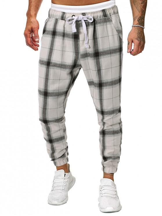 sale Plaid Print Tapered Casual Jogger Pants - MULTI S