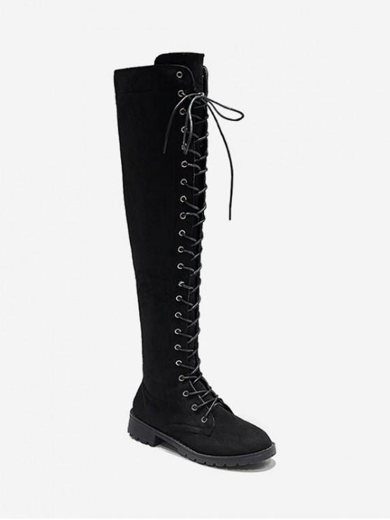 new Solid Lace Up Over The Knee Boots - BLACK EU 34