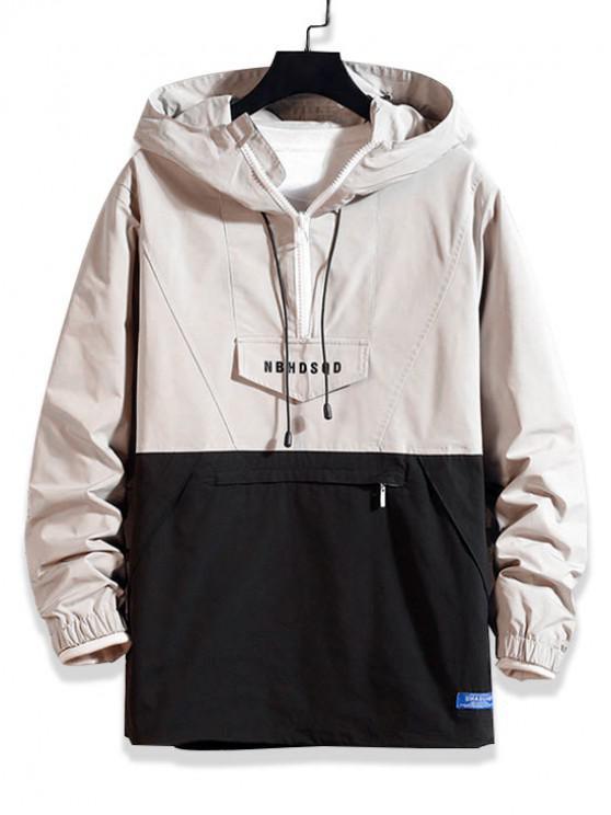 outfit Letter Zipper Decoration Colorblock Hoodie - LIGHT KHAKI M
