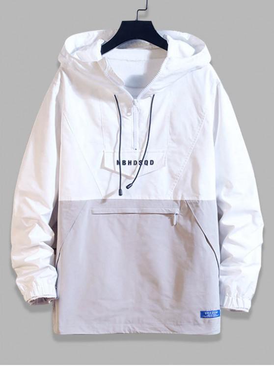 trendy Letter Zipper Decoration Colorblock Hoodie - WHITE 2XL