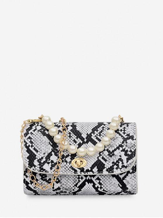 shop Faux Pearl Handle Flap Square Crossbody Bag - WARM WHITE