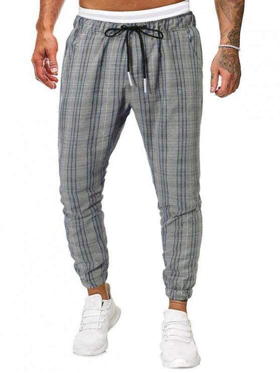 buy Plaid Print Drawstring Casual Jogger Pants - MULTI L