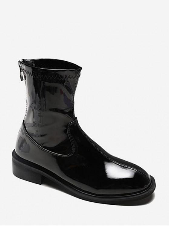 latest Plain Patent Leather Low Heel Ankle Boots - BLACK EU 35
