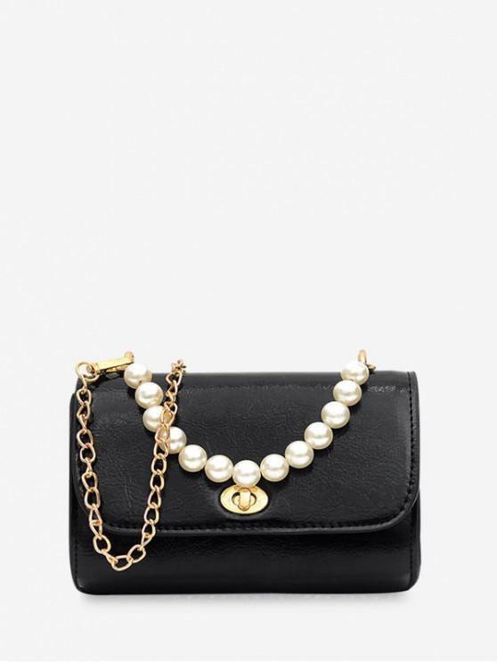fashion Faux Pearl Handle Flap Square Crossbody Bag - BLACK