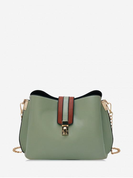 women's Solid Buckle Bucket Bag - GREEN