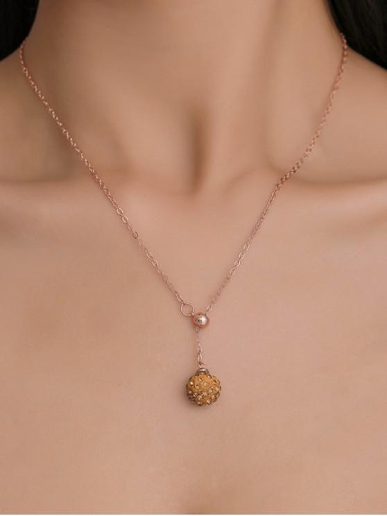水鑽球吊墜項鍊 - 玫瑰金