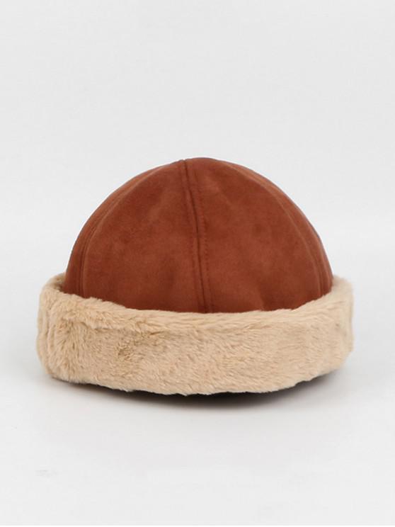 best Winter Suede Faux Fur Dome Skullcap Hat - CARAMEL
