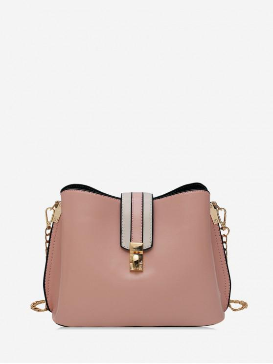 shop Solid Buckle Bucket Bag - PINK