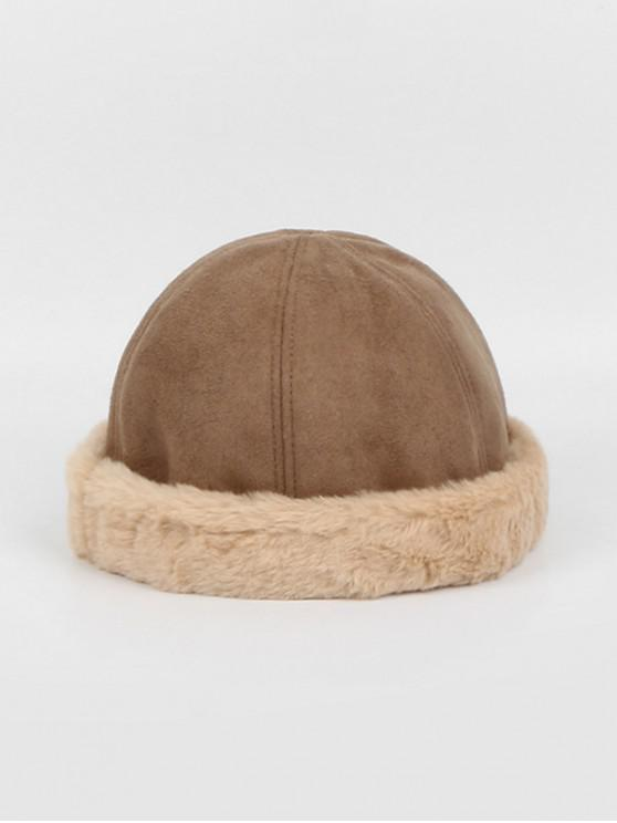 unique Winter Suede Faux Fur Dome Skullcap Hat - KHAKI