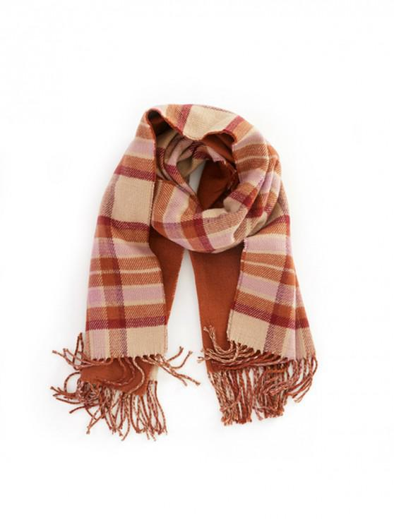 best Plaid Fringe Double-sided Scarf - RED