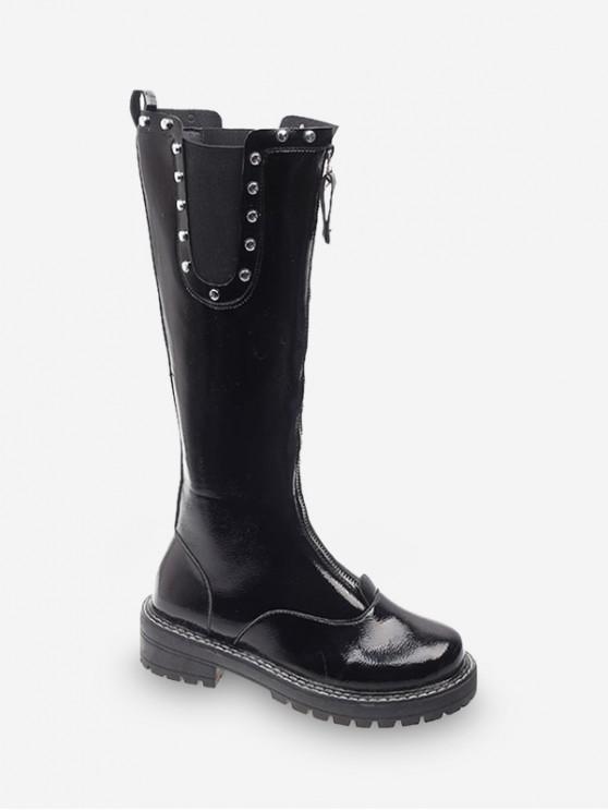 new Front Zip Stud Trim Chelsea Knee High Boots - BLACK EU 37