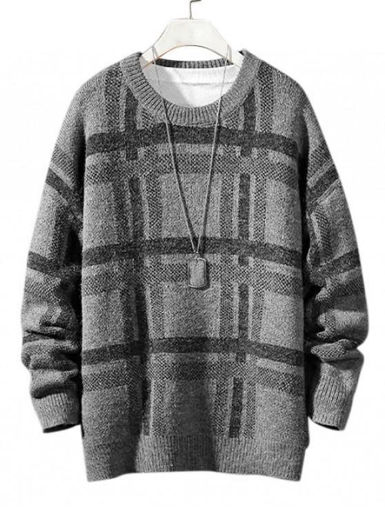 women Plaid Pattern Long Sleeves Sweater - GRAY L