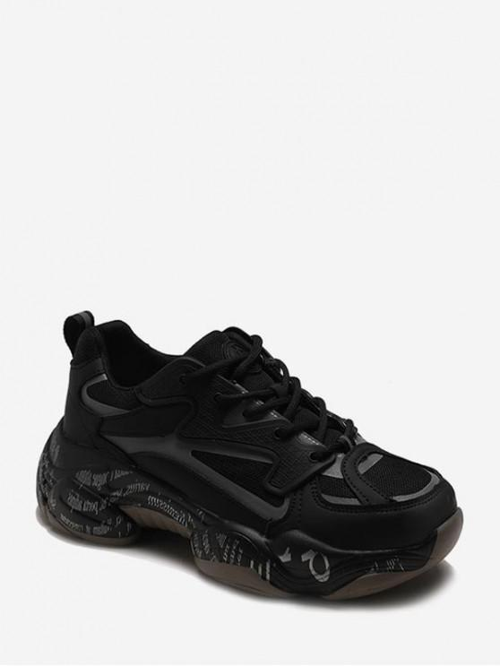 shop Letter Midsole Low Top Outdoor Sneakers - BLACK EU 39