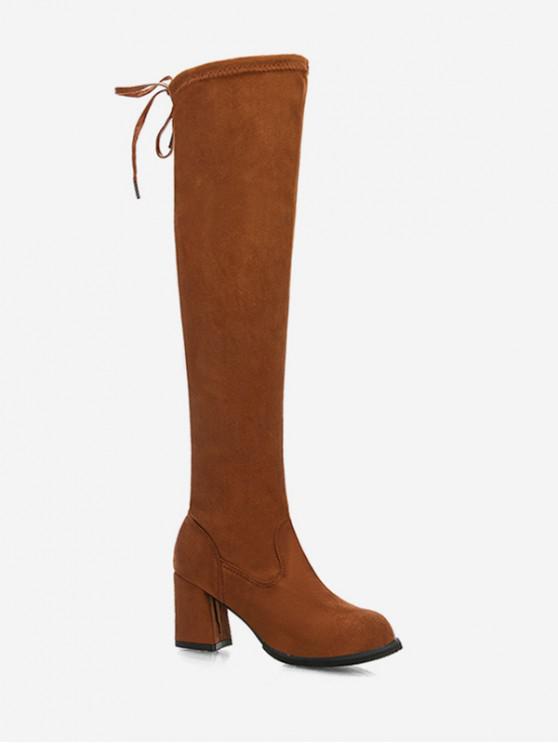 領帶後面塊跟大腿高騎士靴 - 桃花心木 歐盟41