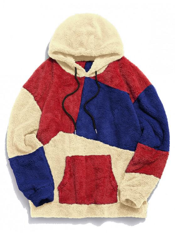 affordable ZAFUL Kangaroo Pocket Contrast Fluffy Hoodie - MULTI-B 2XL
