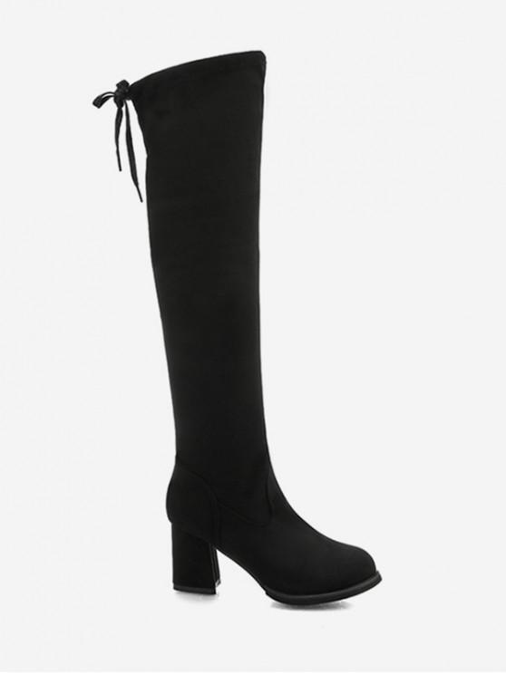 領帶後面塊跟大腿高騎士靴 - 黑色 歐盟36