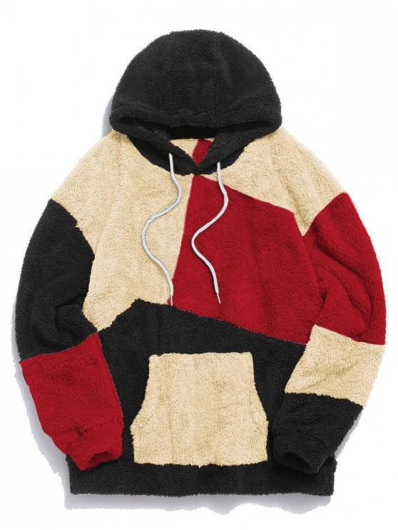 women ZAFUL Kangaroo Pocket Contrast Fluffy Hoodie - MULTI-C M