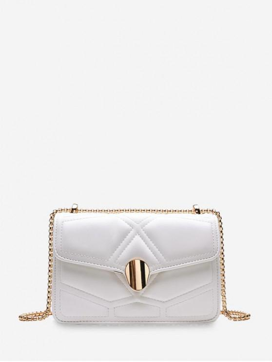 lady Small Square Chain Shoulder Bag - WHITE