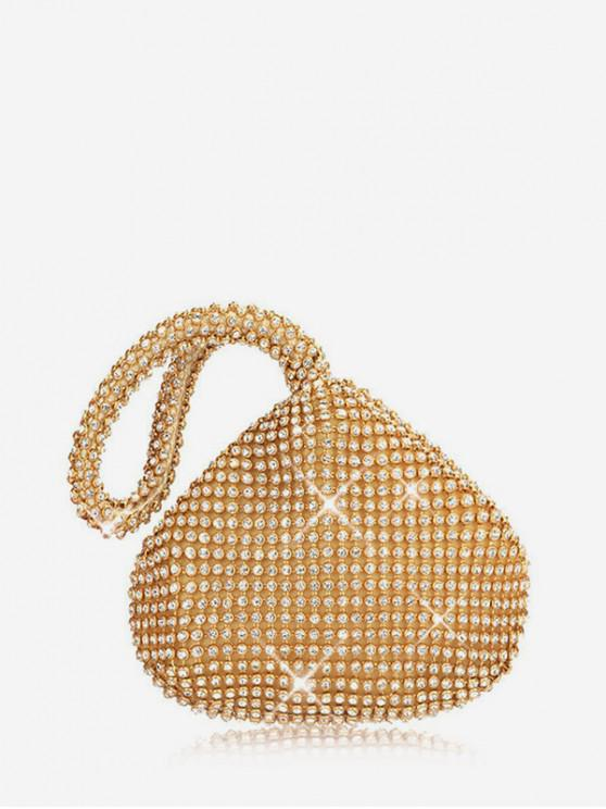 trendy Water Drop Rhinestone Clutch Bag - GOLD