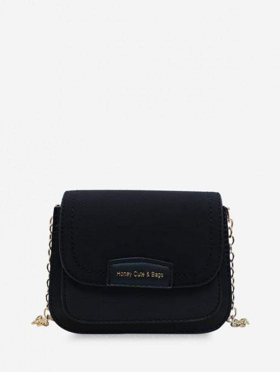 fashion Solid Chain Simple Shoulder Bag - BLACK