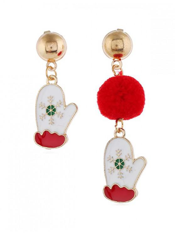 women Christmas Fuzzy Ball Asymmetric Earrings - RED CHRISTMAS GLOVES