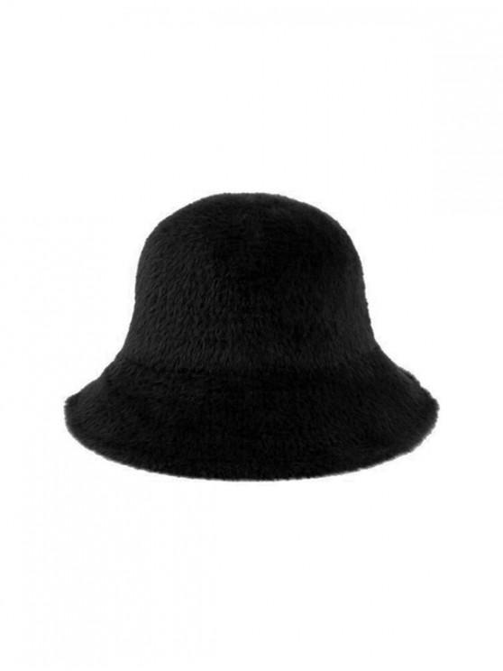 women's Winter Solid Faux Fur Bucket Hat - BLACK