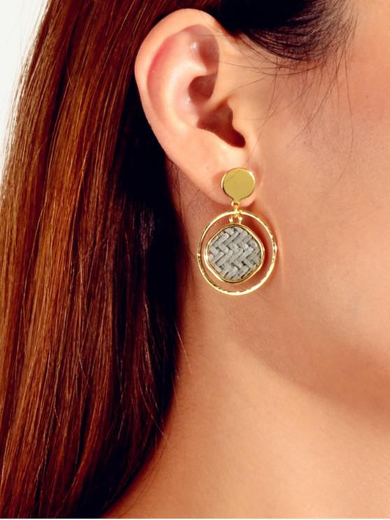 ladies Round Rattan Stud Drop Earrings - GOLD