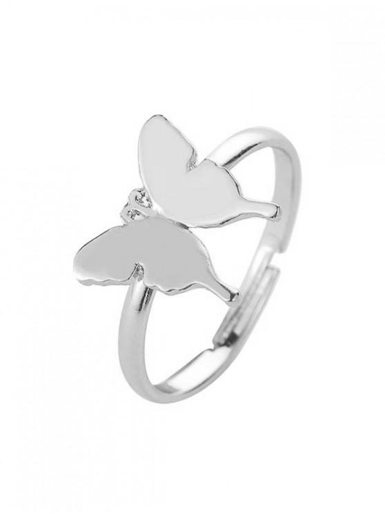 المعادن خاتم الفراشة المفتوحة - فضة
