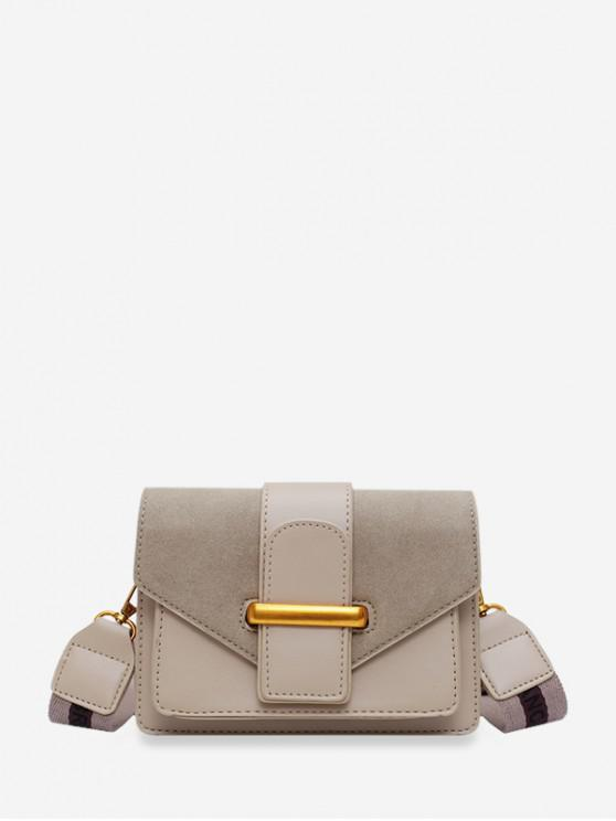 outfit Solid Square Crossbody Shoulder Bag - KHAKI