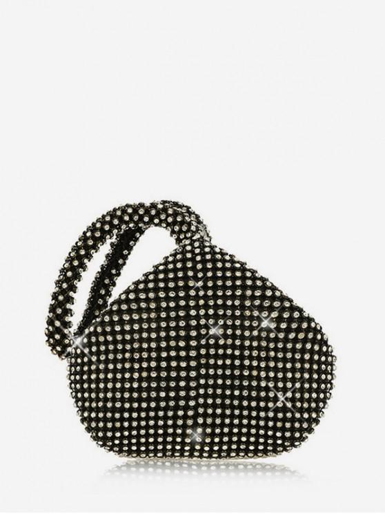 shops Water Drop Rhinestone Clutch Bag - BLACK