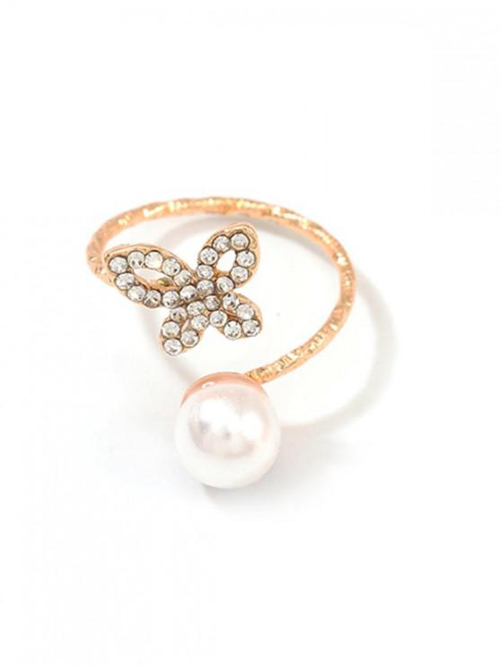 trendy Hollow Butterfly Faux Pearl Ring - GOLD