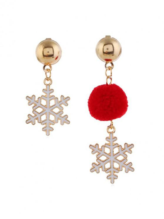 chic Christmas Fuzzy Ball Asymmetric Earrings - RED SNOW