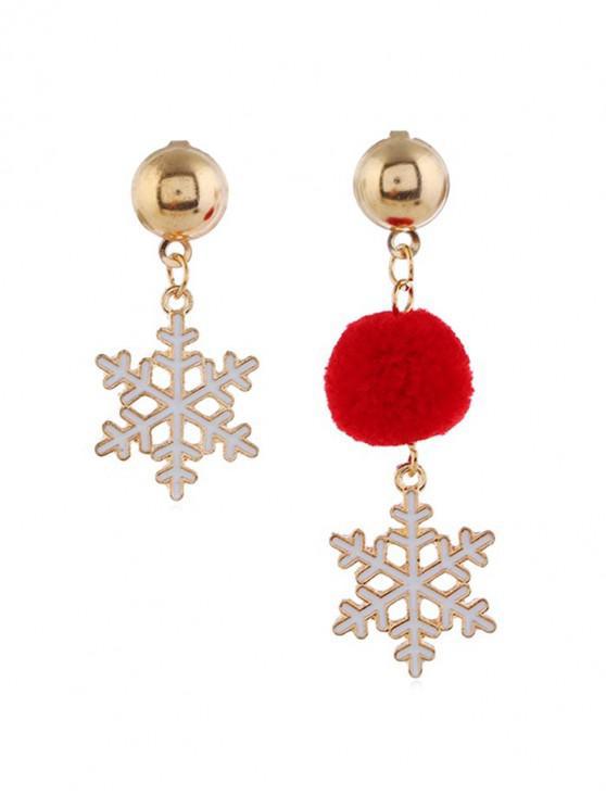 คริสมาสต์บอลเลือนต่างหูแบบอสมมาตร - สีแดง หิมะ