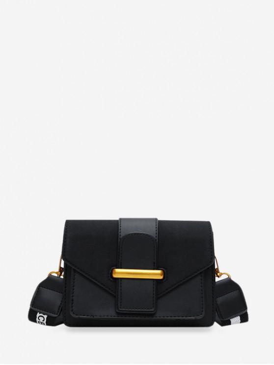 fancy Solid Square Crossbody Shoulder Bag - BLACK