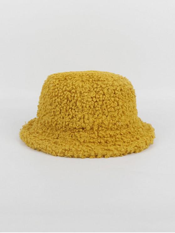 sale Winter Plush Solid Bucket Hat - YELLOW