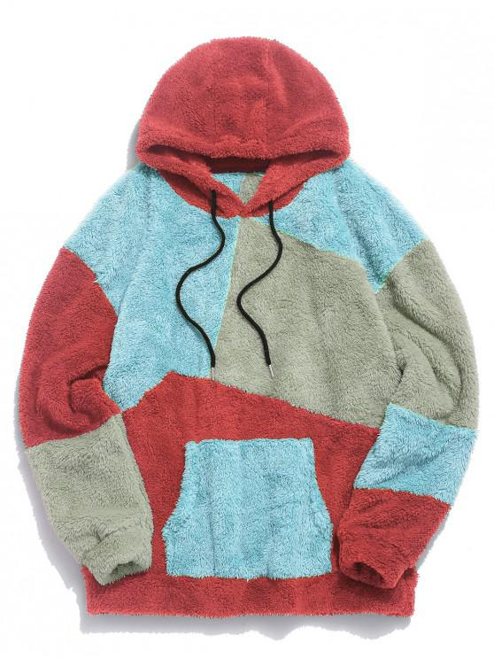 affordable ZAFUL Kangaroo Pocket Contrast Fluffy Hoodie - MULTI-A 2XL