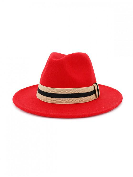 womens Winter Striped Flat Brim Jazz Hat - RED