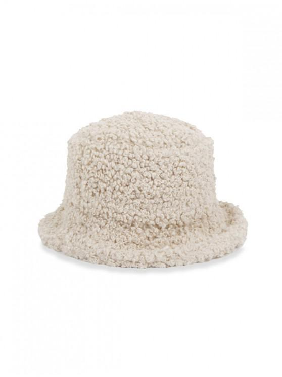 women Winter Plush Solid Bucket Hat - BEIGE