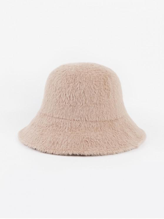 women's Winter Solid Faux Fur Bucket Hat - BEIGE