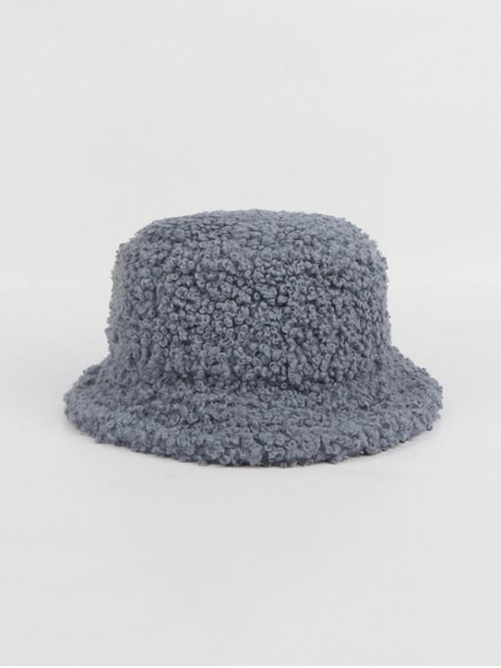 shop Winter Plush Solid Bucket Hat - GRAY
