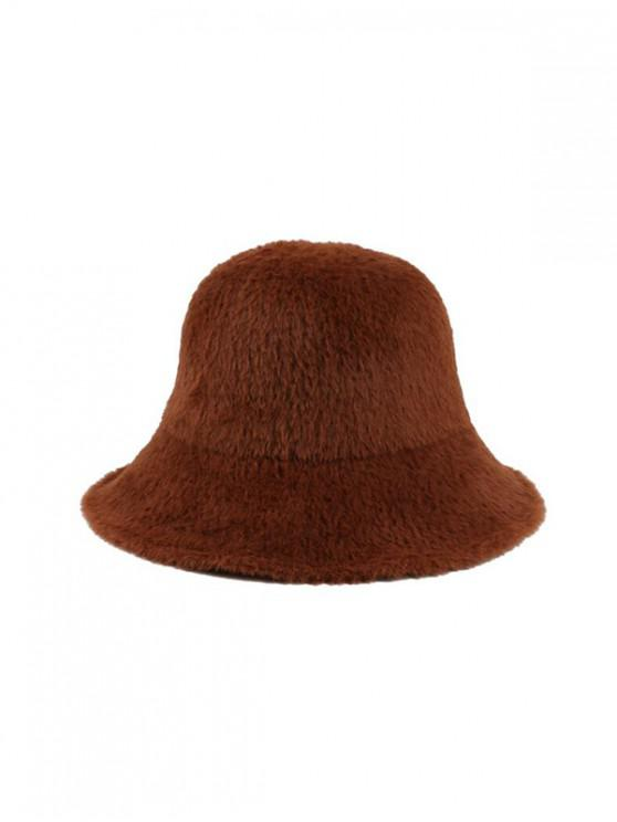 trendy Winter Solid Faux Fur Bucket Hat - COFFEE