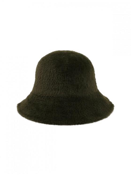Sólido invierno la piel de imitación del sombrero del cubo - Verde Oscuro